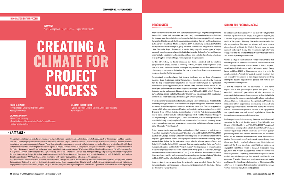 Creating a Climate for Project Success